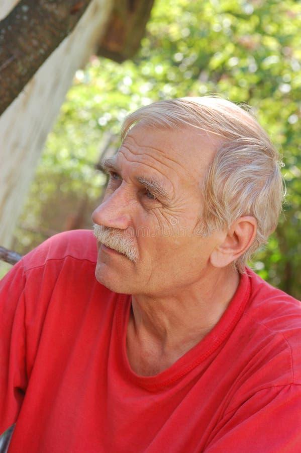 Портрет старшего человека в красном цвете стоковое фото rf