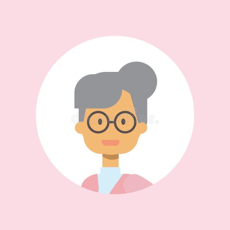 Портрет стекел женщины милой стороны бабушки счастливый на розовой предпосылке, женском воплощении плоском иллюстрация вектора