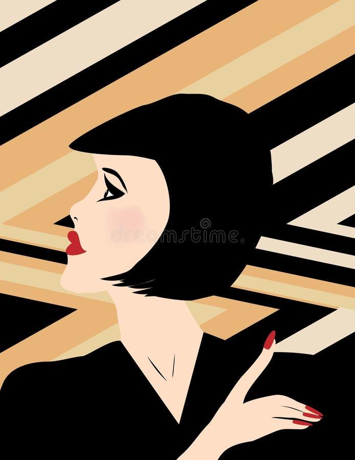 Портрет стиля Арт Деко дамы иллюстрация вектора
