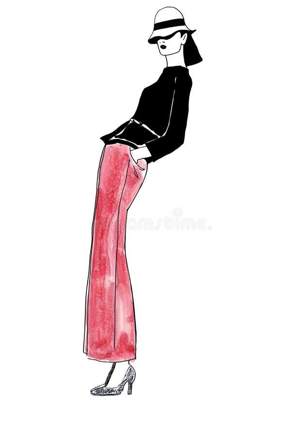 Портрет сумасбродной моды иллюстрации женский в первоначально платье в брюках иллюстрация штока