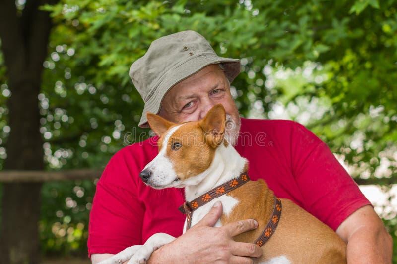 Портрет счастливой собаки basenji в руках своего бородатого мастера стоковое изображение rf