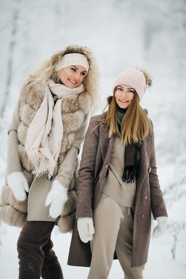 Портрет 2 счастливых белокурых женщин в шляпе на прогулке в лесе зимы стоковое фото