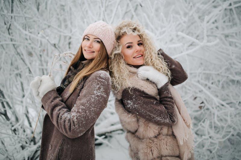 Портрет 2 счастливых белокурых женщин в шляпе на прогулке в лесе зимы стоковые фотографии rf