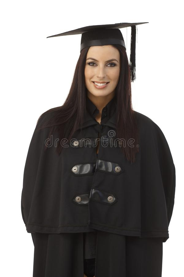 Портрет счастливого студент-выпускника женщины стоковые фото