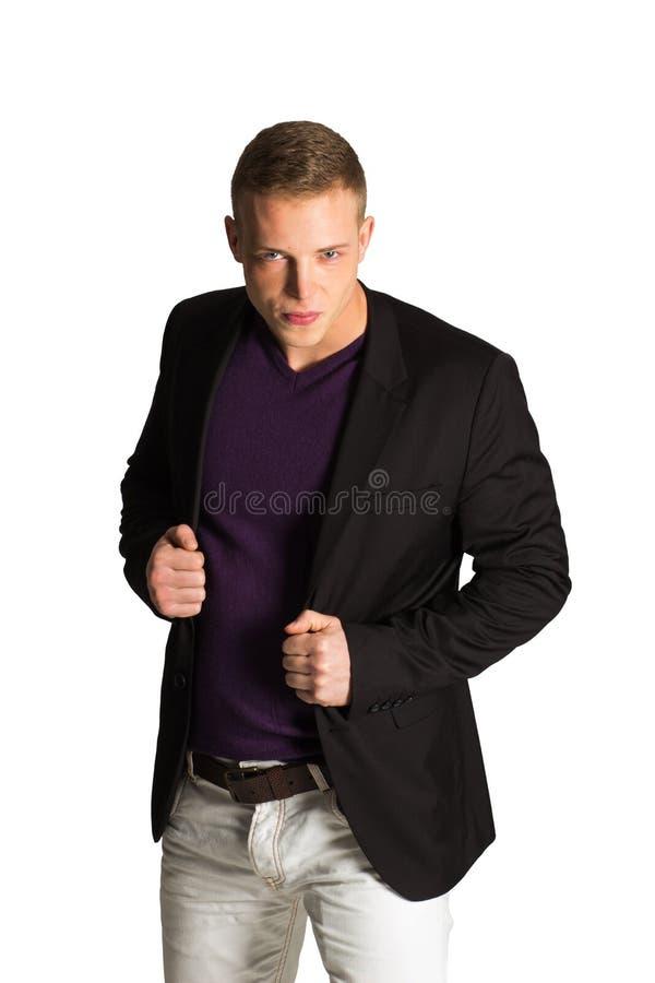 Портрет счастливого усмехаясь бизнесмена, изолированный на белой предпосылке стоковое фото rf