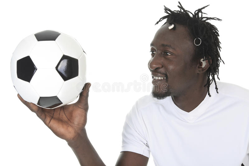 Портрет счастливого футболиста стоковое изображение