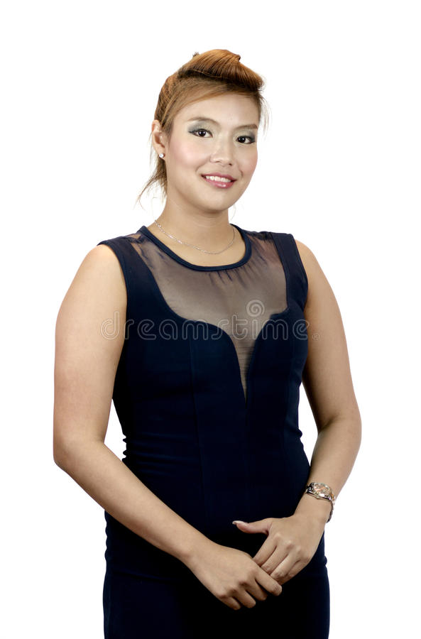 Портрет счастливой азиатской изолированной женщины стоковые изображения