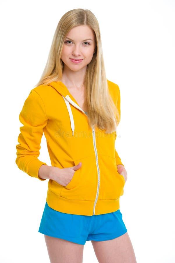Портрет счастливой девушки подростка стоковое фото