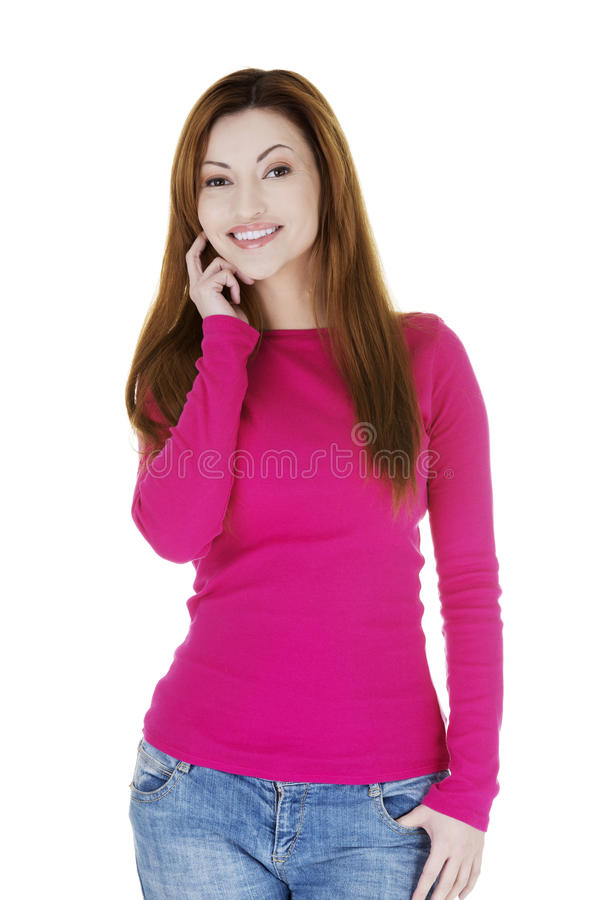 Портрет счастливой женщины постаретой серединой стоковые изображения rf