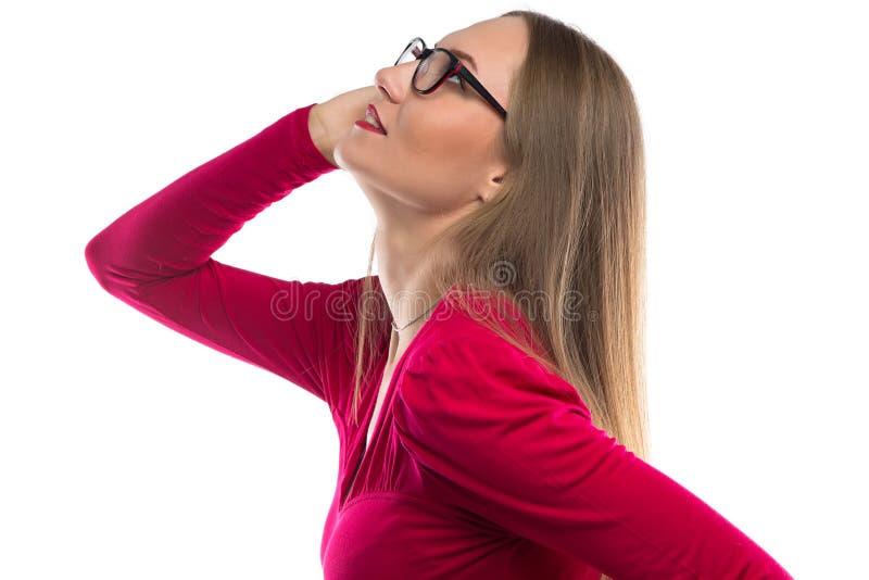 Портрет счастливой женщины смотря вверх, мечтая стоковое фото rf