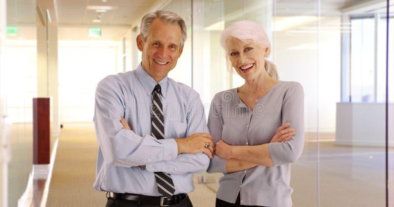 Портрет счастливых старших профессионалов дела усмехаясь на камере стоковые фото