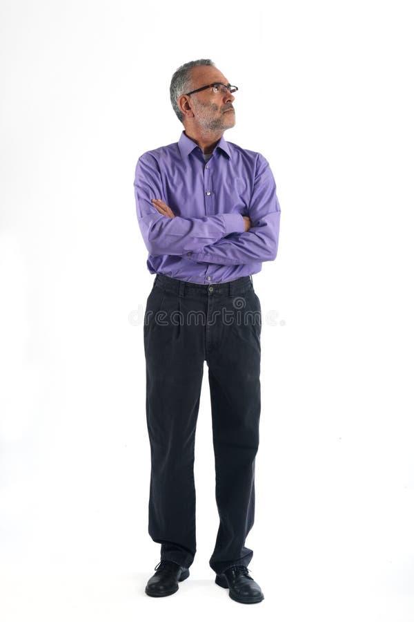 Портрет тела зрелого человека полного стоковая фотография rf