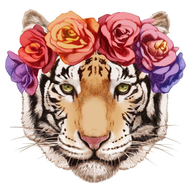 Портрет тигра с флористическим головным венком иллюстрация вектора