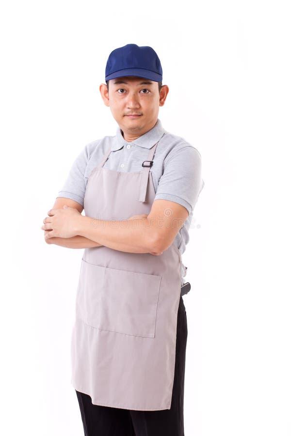 Портрет уверенно работника, работника с голубой крышкой и рисбермы стоковое изображение rf