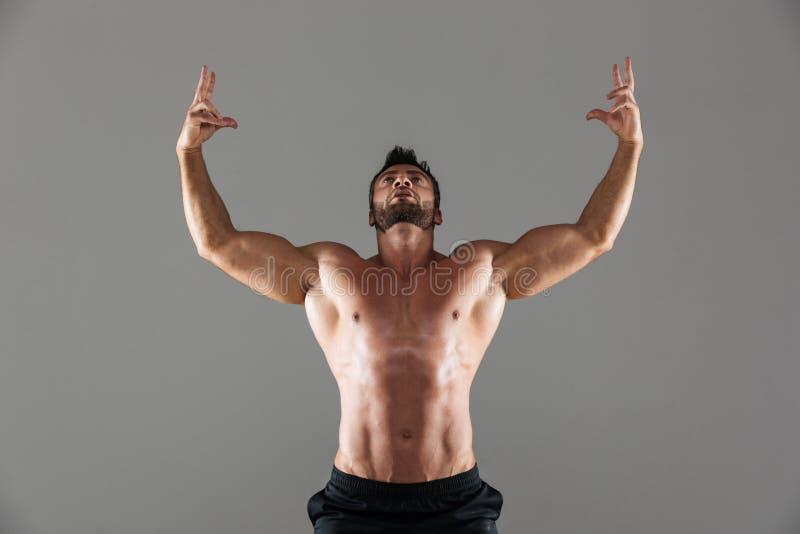Портрет уверенно сильный без рубашки мужской представлять культуриста стоковые фото