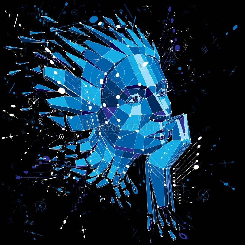 портрет умной женщины, человеческие встреченные мысли вектора 3d низкий поли иллюстрация штока