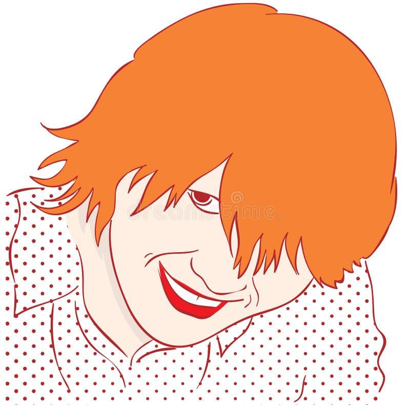 Портрет усмехаясь девушки с красными волосами Искусство шипучки стиля бесплатная иллюстрация