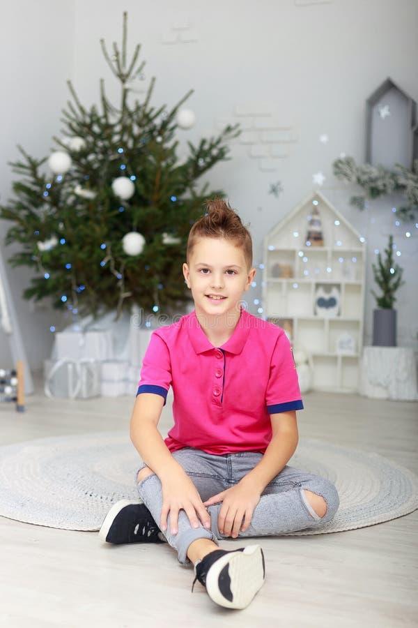 Портрет усмехаясь мальчика в комнате украшенной рождеством стоковое изображение rf