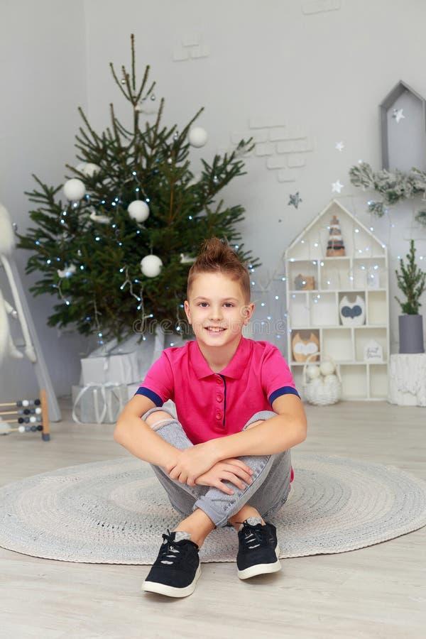 Портрет усмехаясь мальчика в комнате украшенной рождеством стоковое изображение