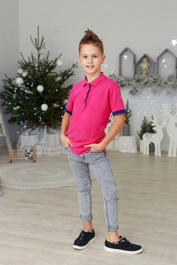 Портрет усмехаясь мальчика в комнате украшенной рождеством стоковые фотографии rf