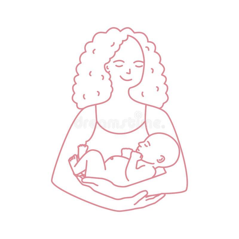 Портрет усмехаясь матери держа младенца нарисованный с линией контура на белой предпосылке Новорожденный ребенок нося жизнерадост иллюстрация штока