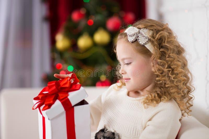 Портрет усмехаясь милой девушки с подарком рождества стоковые изображения rf