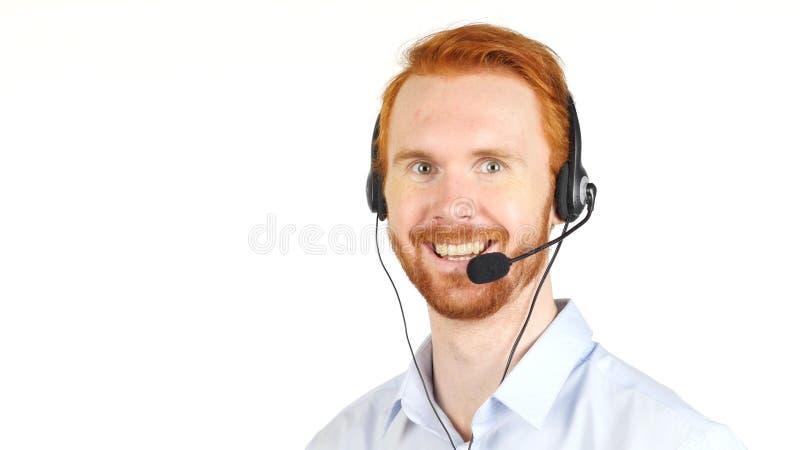 Портрет усмехаясь работы обслуживания клиента репрезентивной стоковое изображение