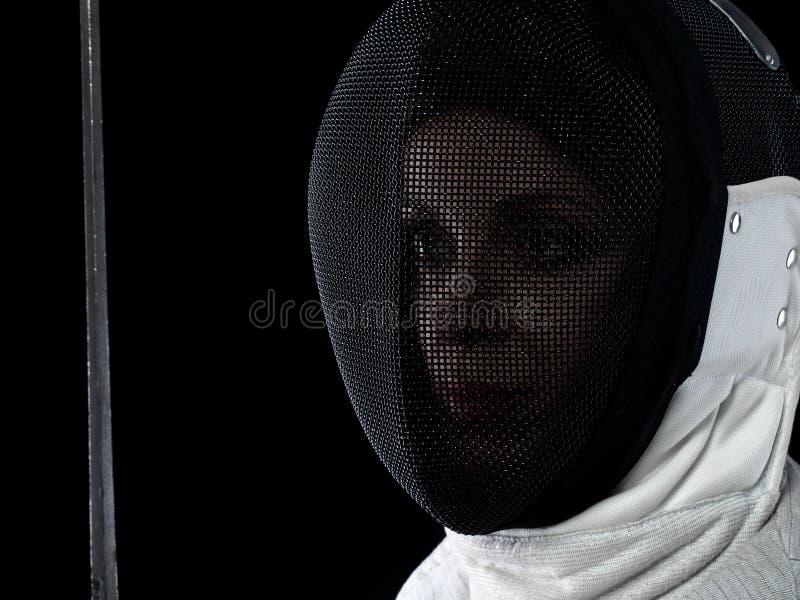 Портрет фехтовальщика женщины стоковые изображения rf