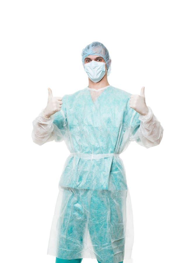 Портрет хирурга белизна изолированная предпосылкой Он стоковое изображение rf