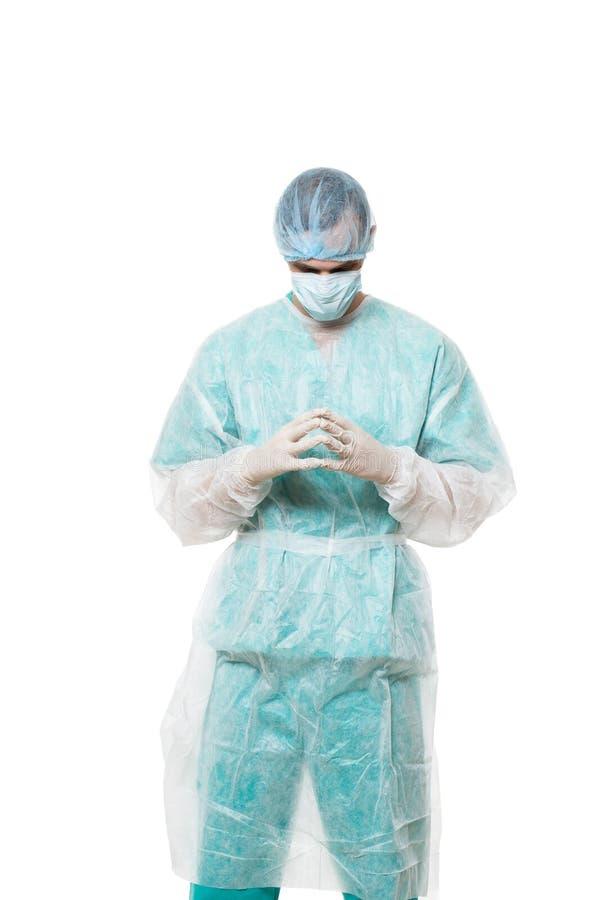 Портрет хирурга белизна изолированная предпосылкой стоковая фотография