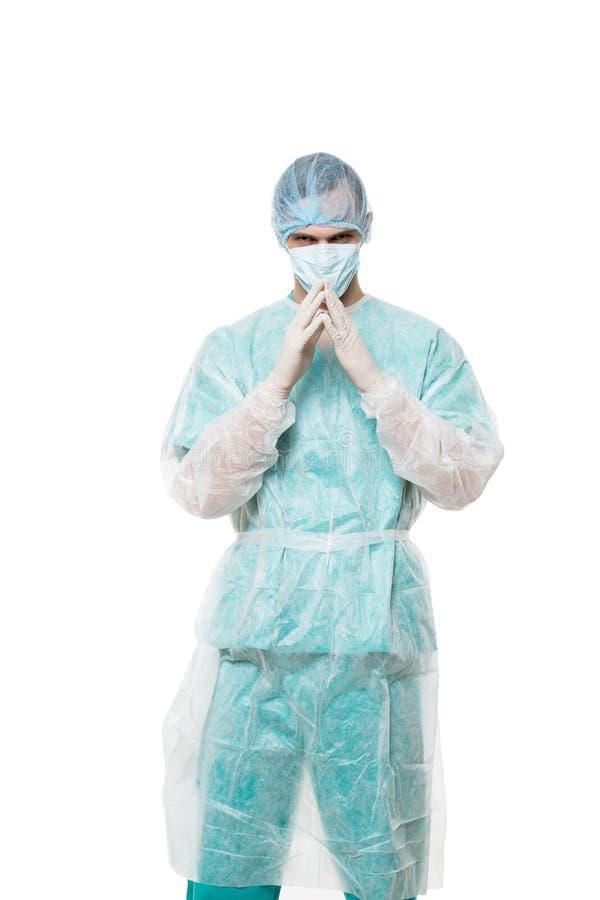 Портрет хирурга белизна изолированная предпосылкой стоковые фото