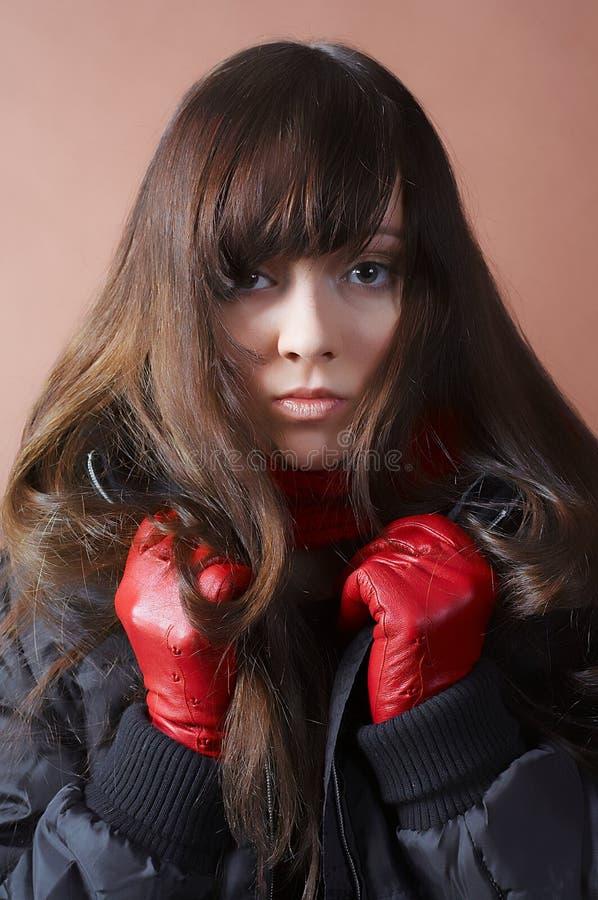 Портрет холодной девушки стоковое изображение rf