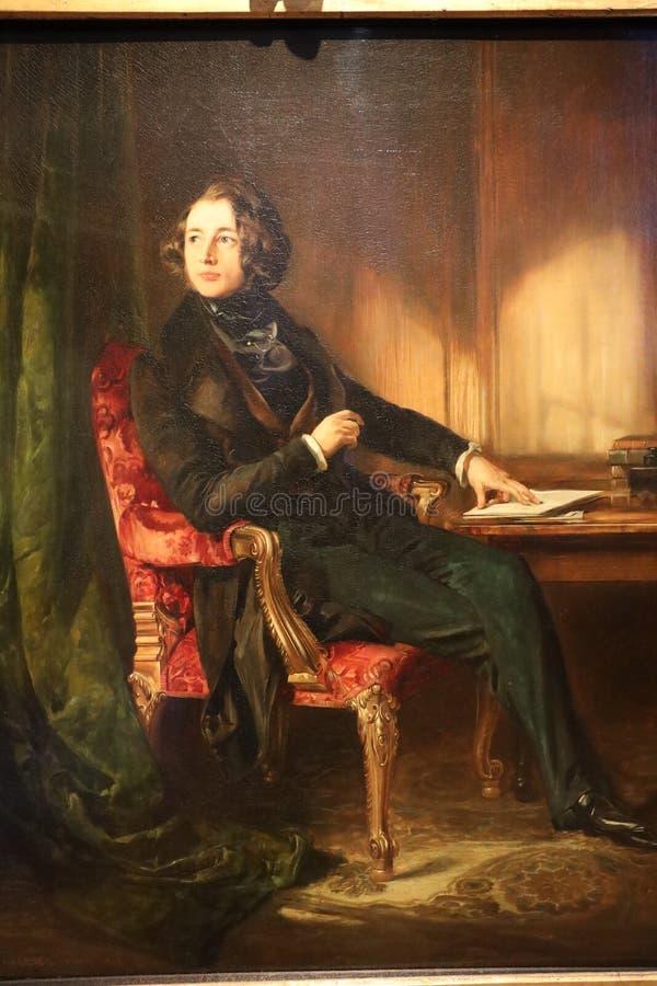 Портрет Чарльза Джона Huffam Dickens, Дэниэлом Maclise стоковые фотографии rf