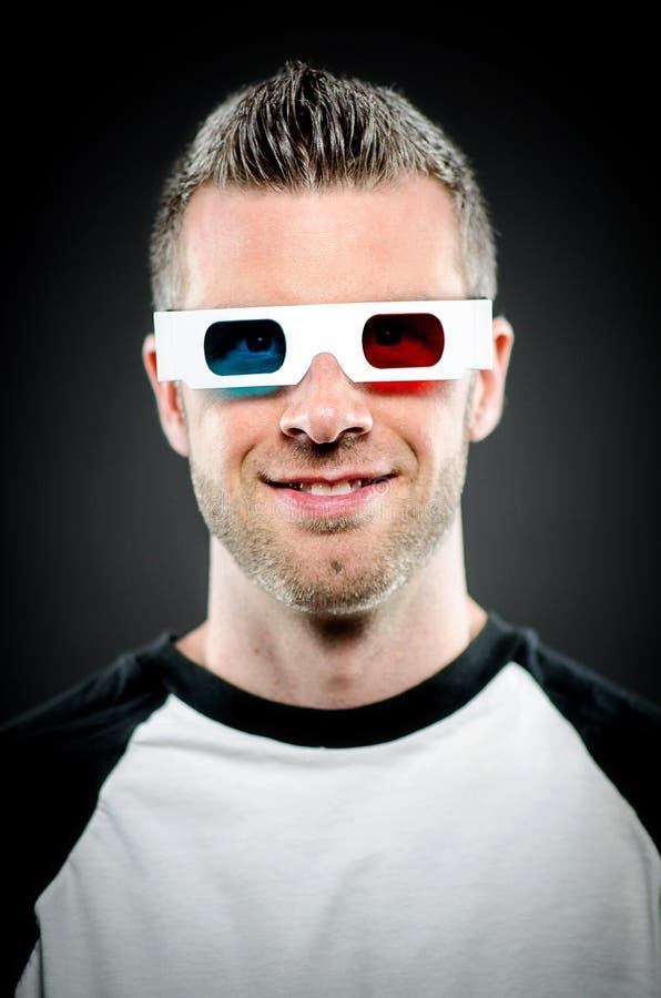 Портрет человека нося стекла 3d стоковое изображение