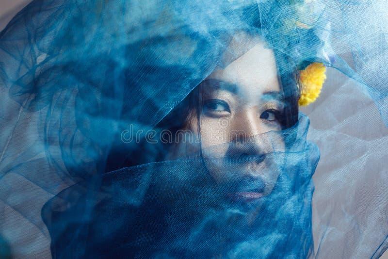 Портрет чувственной шикарной азиатской женщины смотря камеру через голубую вуаль на стороне стоковое изображение