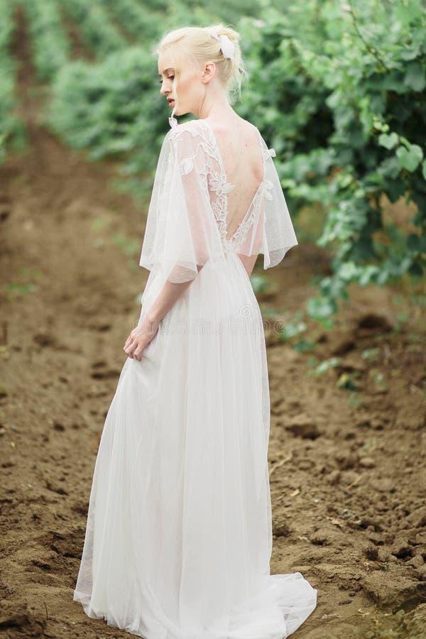Портрет шикарные женщины и человек в виноградниках стоковые изображения