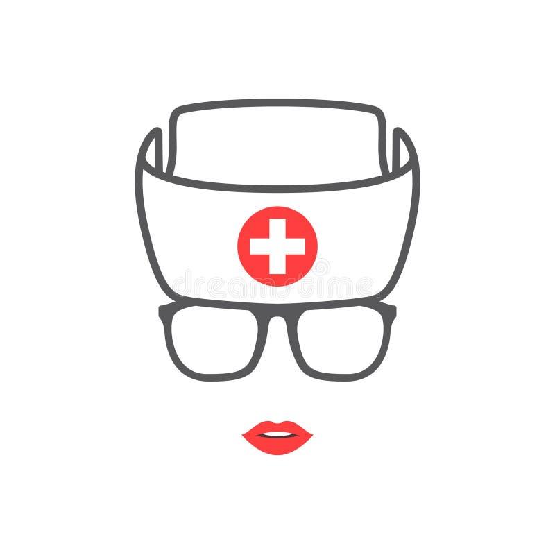 Портрет шляпы абстрактной молодой женщины нося белой медицинской иллюстрация штока