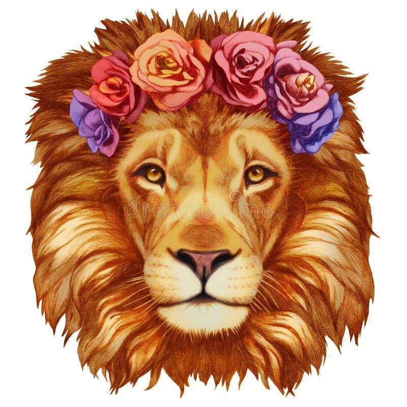 Портрет льва с флористическим головным венком иллюстрация вектора