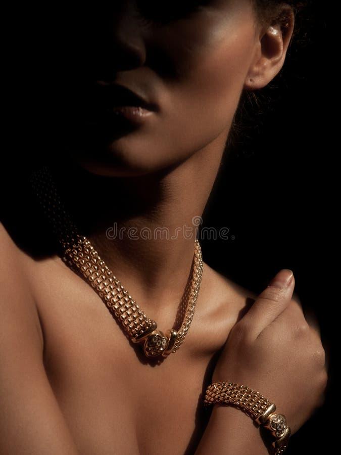 Портрет элегантной и красивой женщины детенышей умно одетой при роскошные ювелирные изделия сделанные от драгоценных металлов на  стоковое изображение rf