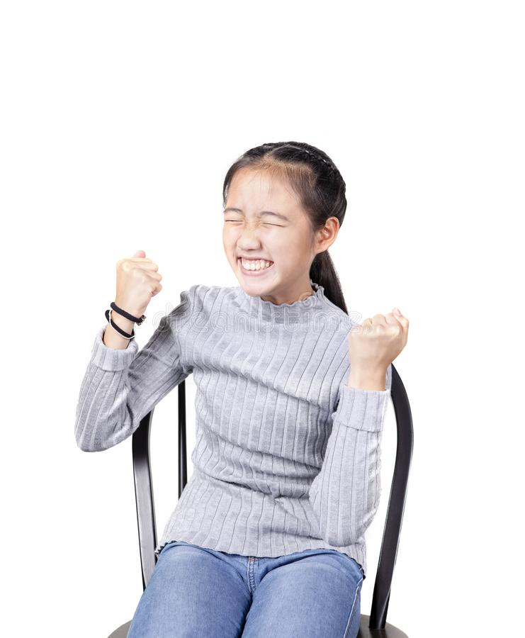 Портрет эмоции счастья азиатского подростка радостной, успешный стоковые изображения rf