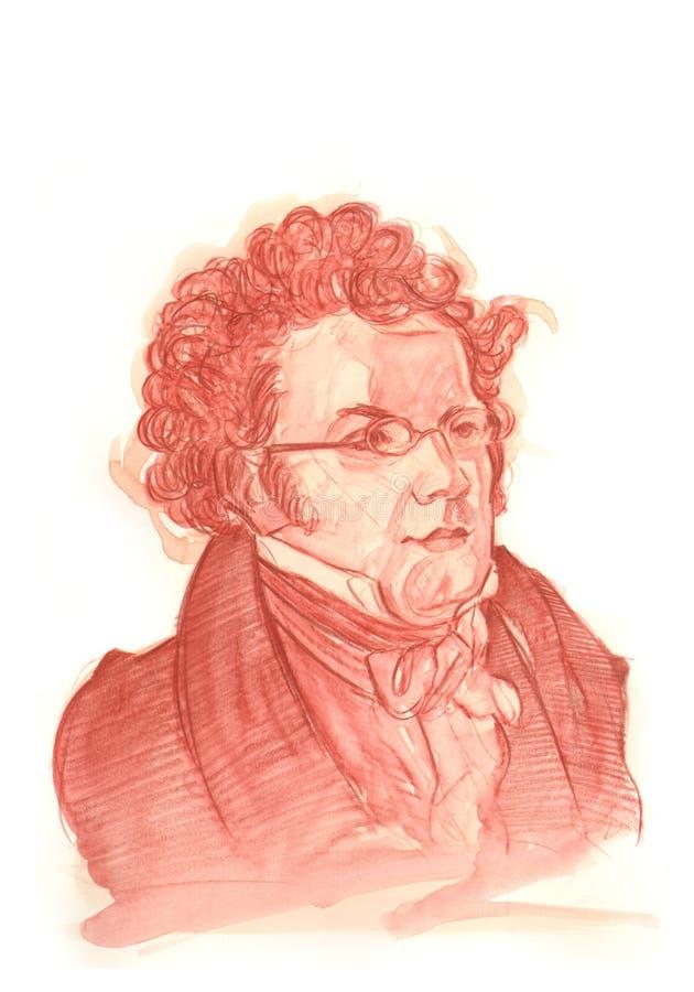 Портрет эскиза Watercolour Франц Шуберт иллюстрация штока