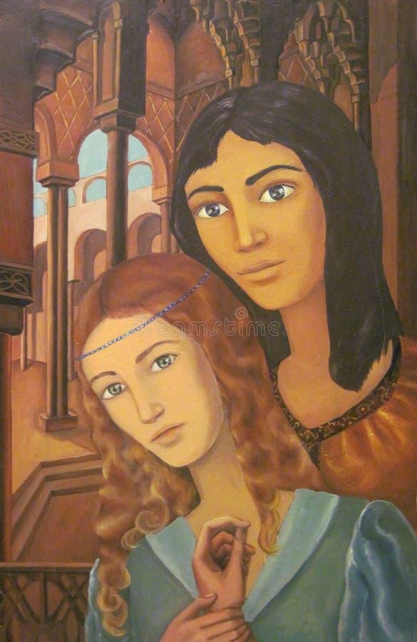 Портрет любовников иллюстрация вектора