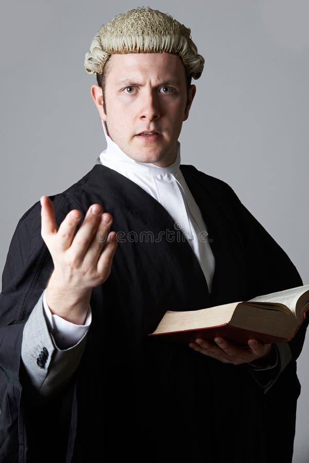 Портрет юриста держа сводку и книги делая речь стоковые фото