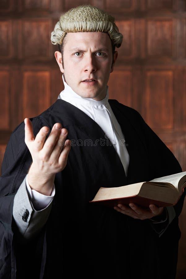 Портрет юриста держа сводку и книги делая речь стоковое фото rf