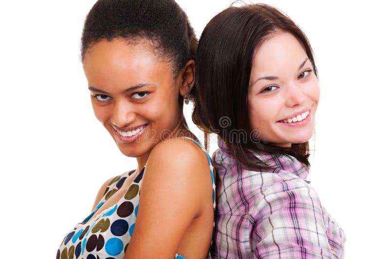 портрет 2 друзей счастливый стоковая фотография rf