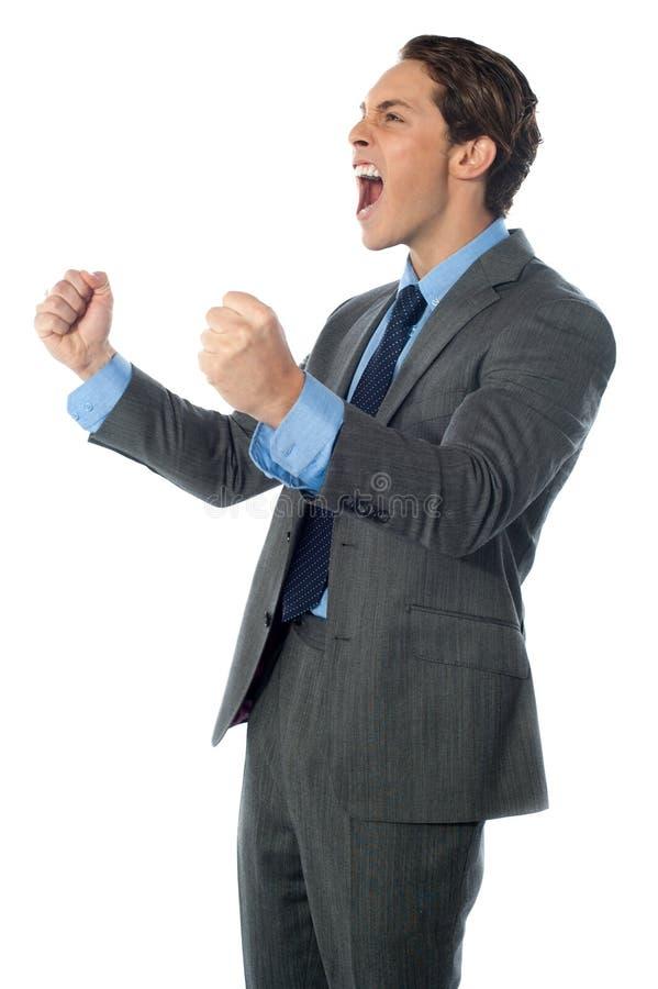 Портрет excited бизнесмена стоковые фото
