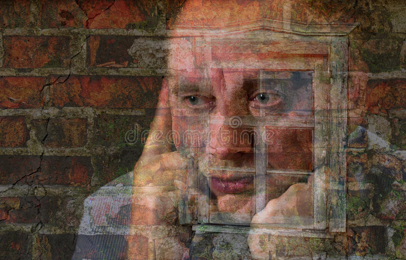 Портрет exposured многократной цепью зрелого человека стоковое изображение rf