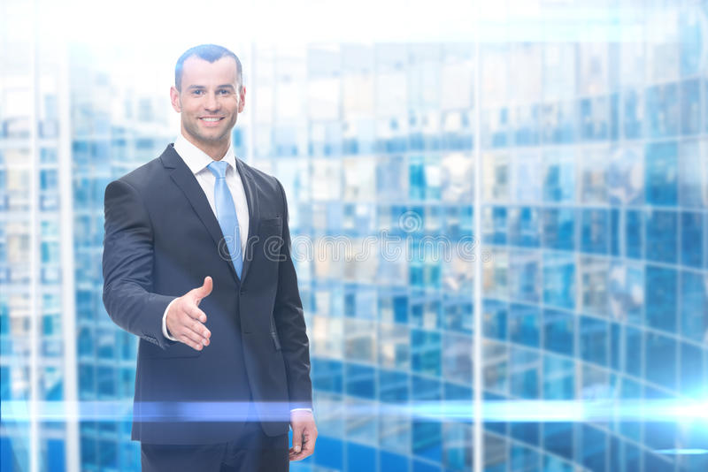 Портрет handshaking бизнесмена стоковые изображения rf