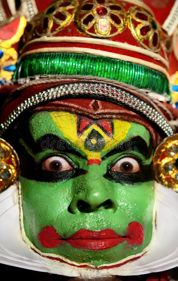 портрет kathakali танцора стоковая фотография rf
