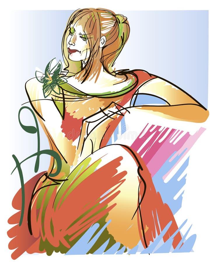 Портрет red-haired девушки иллюстрация вектора